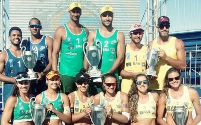 Ouro para Ricardo/Vinícius e Tainá/Victoria em dia de pódio todo brasileiro